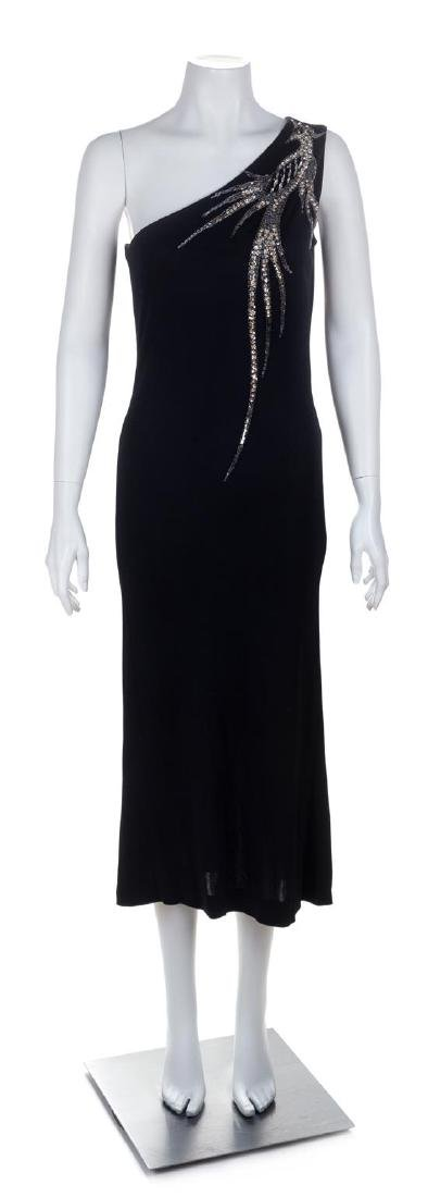 A Bob Mackie/Ray Aghayan Black One Shoulder Gown, No