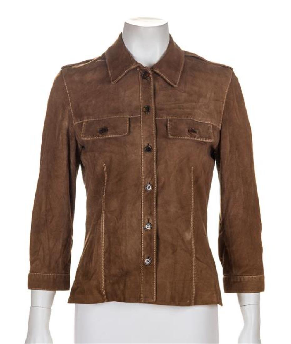 A Carolina Herrera Brown Suede Shirt, Size 6.