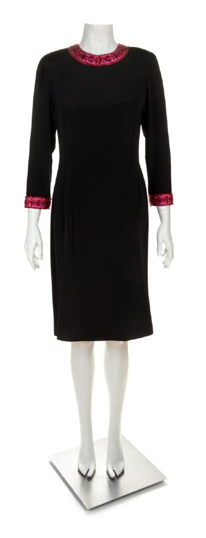 A Carolina Herrera Black Silk Cocktail Dress, Size 8.