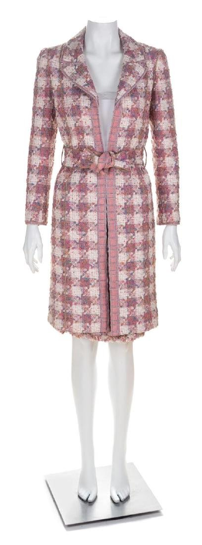 A Chanel Pink Cotton Tweed Coat and Skirt Ensemble,