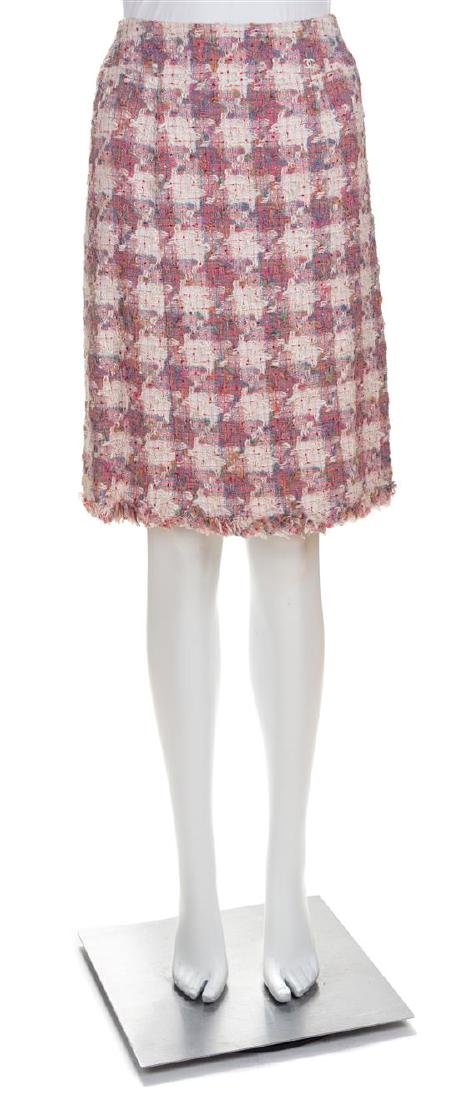 A Chanel Pink Cotton Tweed Coat and Skirt Ensemble, - 2