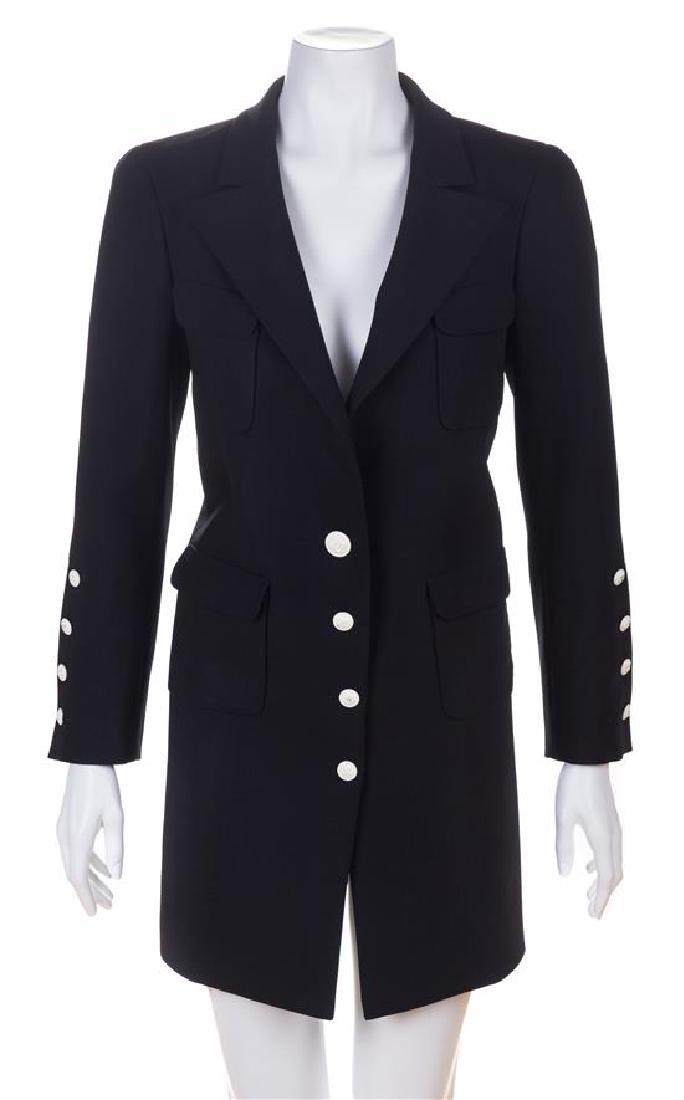 A Chanel Black Wool Oversized Jacket, Size 36.