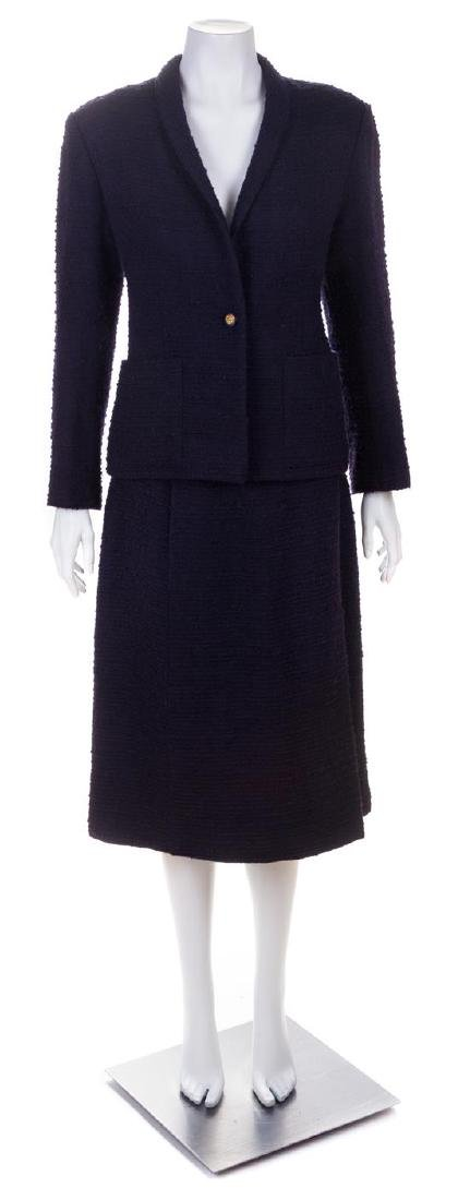 * A Chanel Creations Navy Boucle Jacket and Skirt, Size