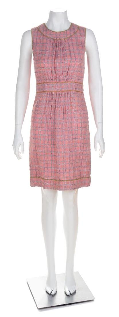 A Chanel Pink Tweed Sleeveless Dress, Size 36.