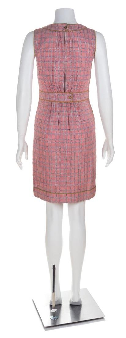 A Chanel Pink Tweed Sleeveless Dress, Size 36. - 2