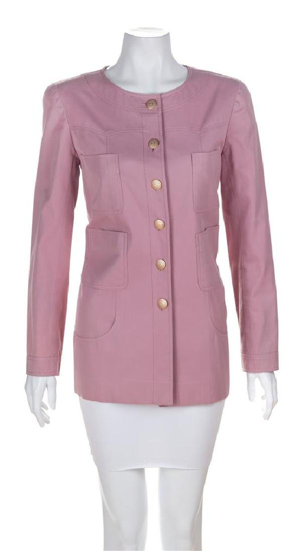 A Chanel Rose Cotton Jacket, Size 40.