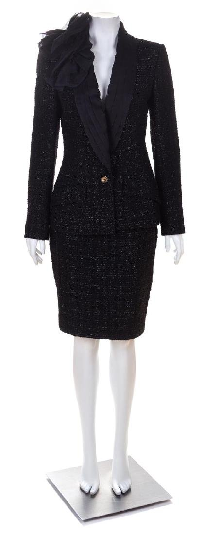 A Christian Dior Black Wool Shimmer Skirt Suit, Size