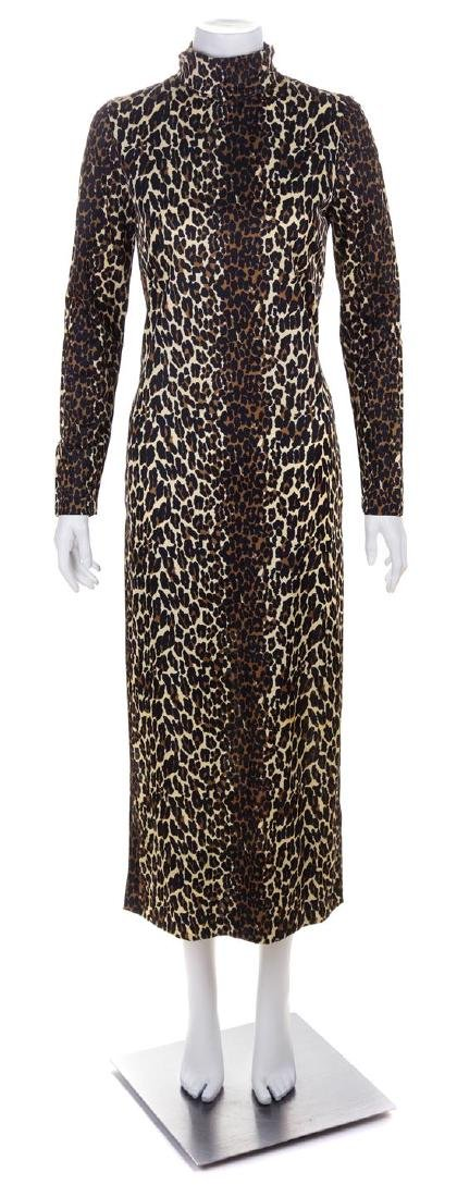 * A Cole of California Leopard Print Column Gown, No