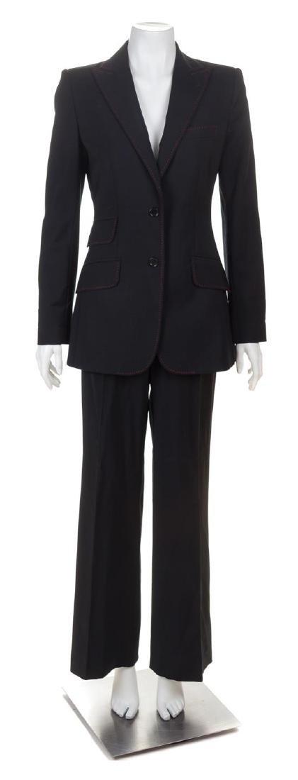 A Dolce & Gabbana Black Wool Pant Suit, Size 40.