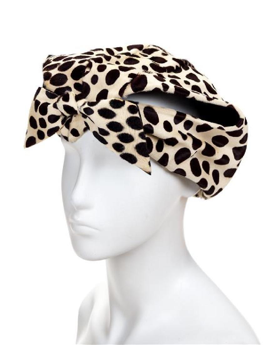 A Christian Dior Calfskin Animal Print Hat, No size.