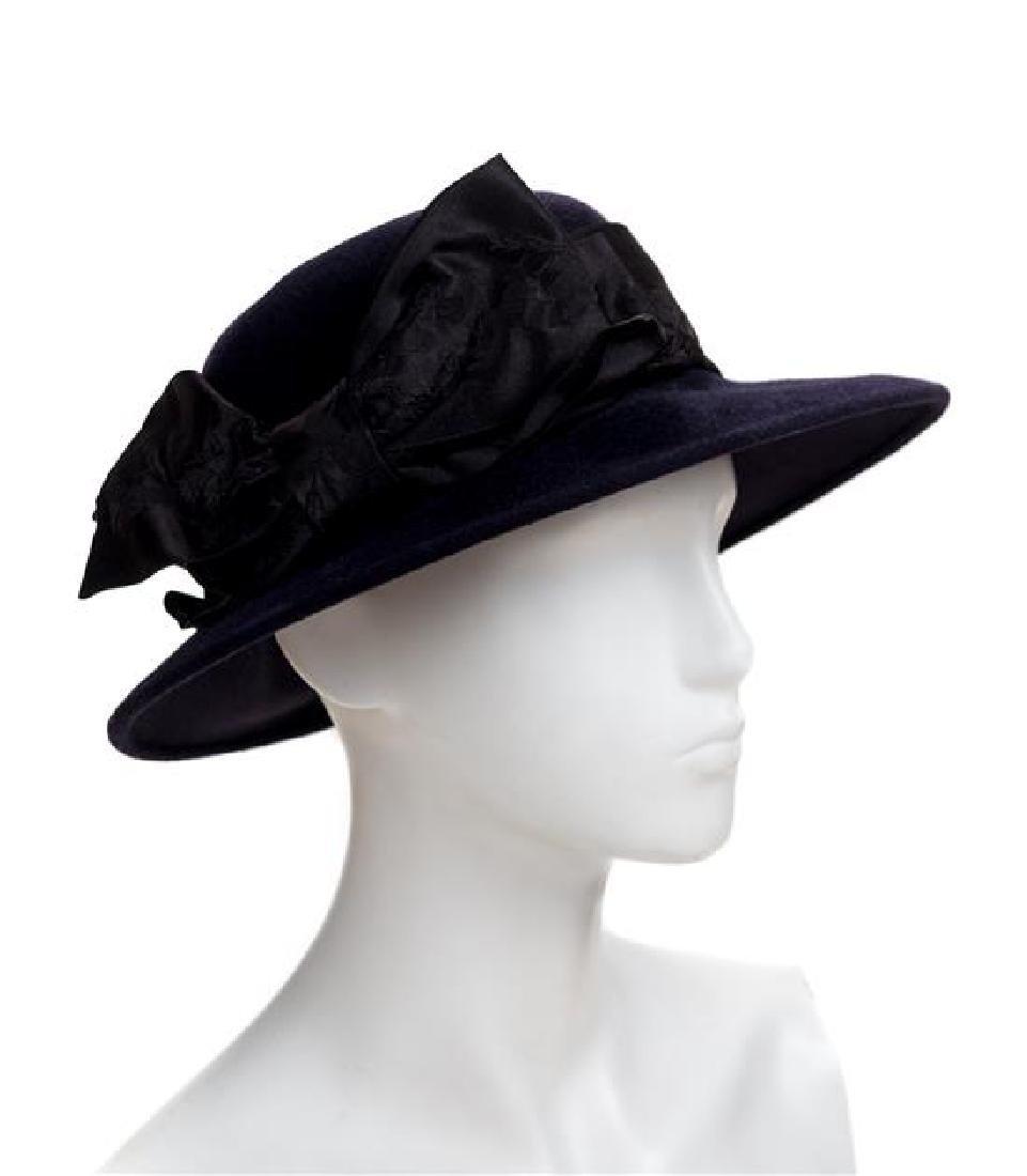A Linda Campisano Navy Wool Hat,