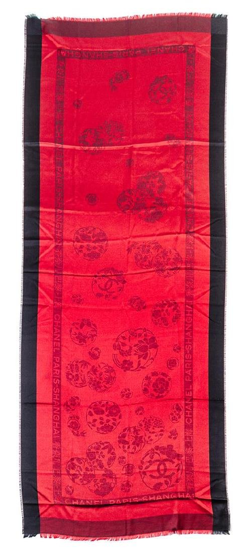 A Chanel Black and Red Silk Scarf,