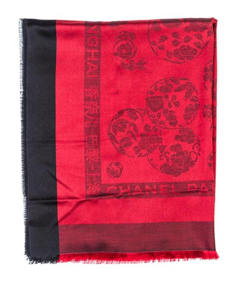 A Chanel Black and Red Silk Scarf, - 2