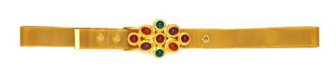 "A Ben-Amun Goldtone Mesh Belt, 43.5""."