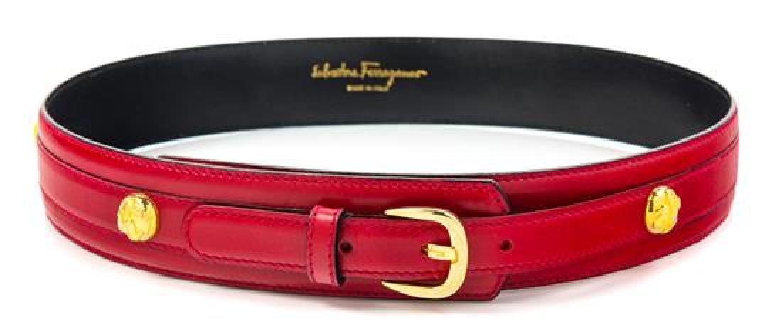 """A Salvatore Ferragamo Red Leather Belt, 29.25""""- 31.25"""""""