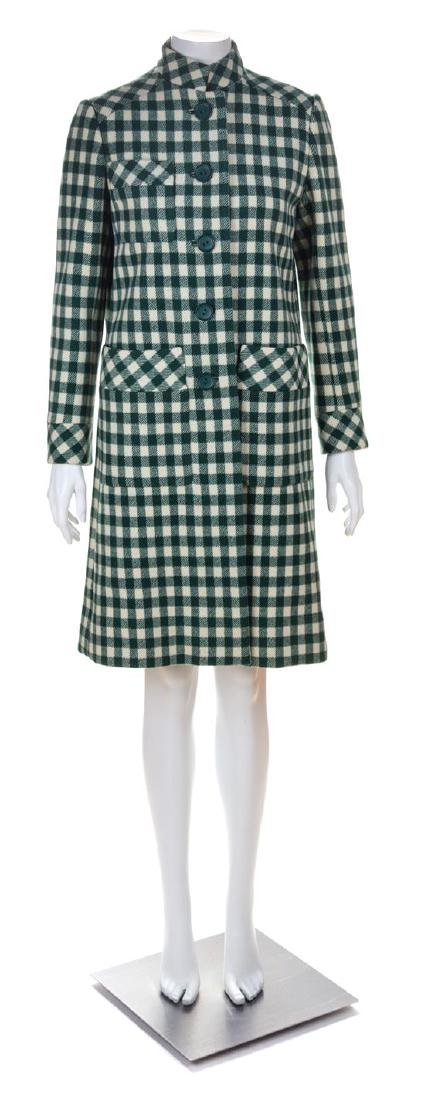 A Donald Brooks Green and Cream Plaid Wool Coat, No
