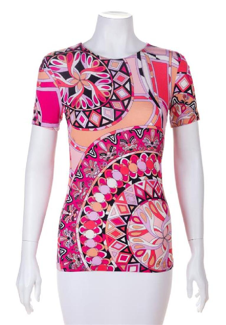 An Emilio Pucci Pink Print Top, Size 6.