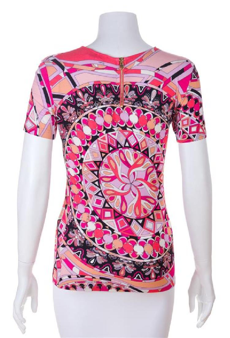 An Emilio Pucci Pink Print Top, Size 6. - 2