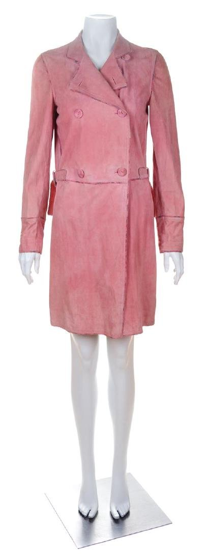 An Emanuel Ungaro Pink Suede Double Breasted Coat, Size