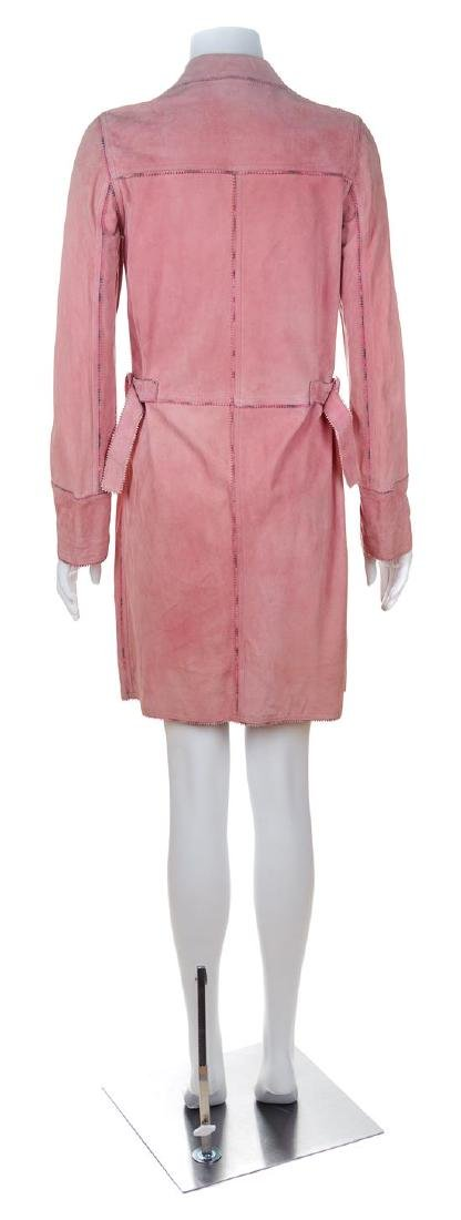 An Emanuel Ungaro Pink Suede Double Breasted Coat, Size - 3