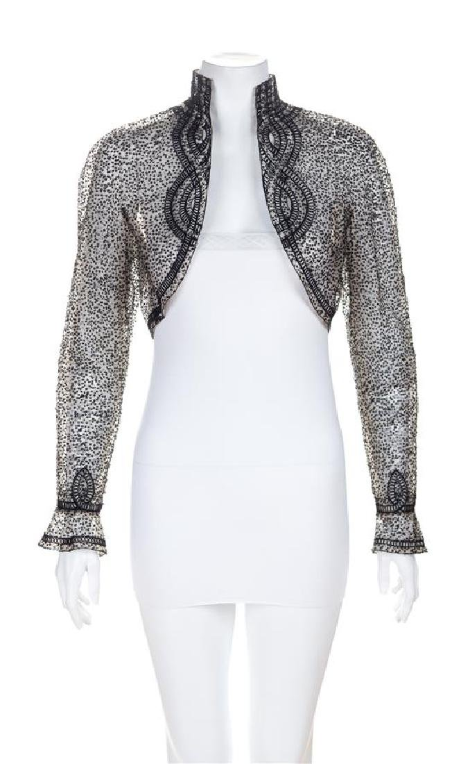 An Escada Black and Tan Sheer Bolero Jacket, Size 36.