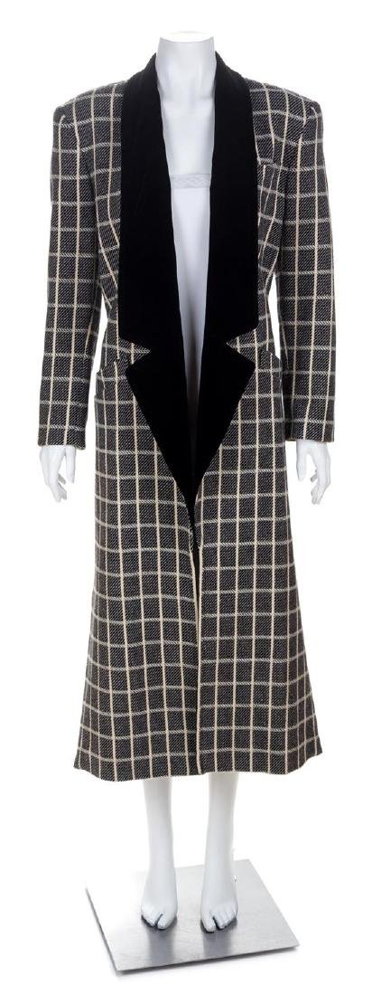An Escada Black and Cream Wool Coat, Size 36.