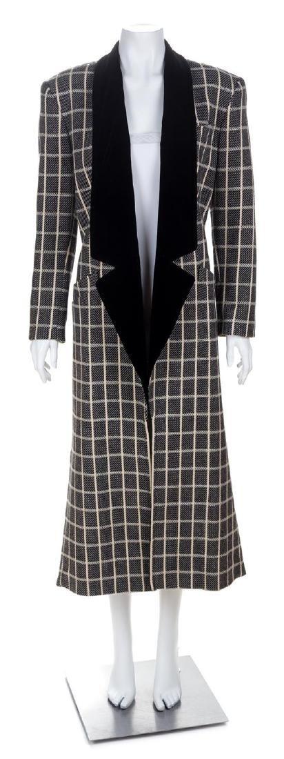 An Escada Black and Cream Wool Coat, Size 36.
