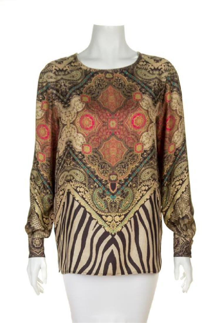 An Etro Multicolor Silk Patterned Blouse, Size 42.