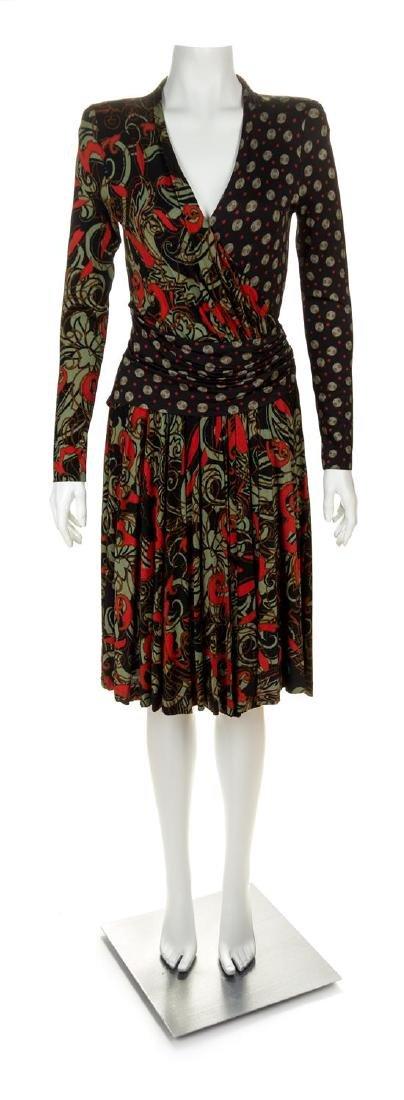 An Etro Black Patterned Wrap Dress, Size 44.