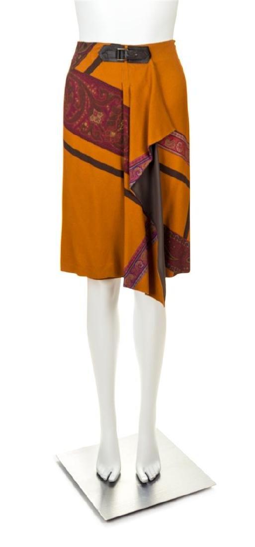 An Etro Orange Wool A-Line Skirt, Size 42.