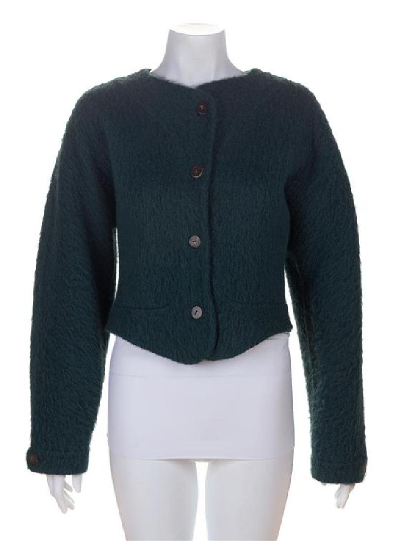 * A Geoffrey Beene Green Boiled Wool Crop Jacket, Size