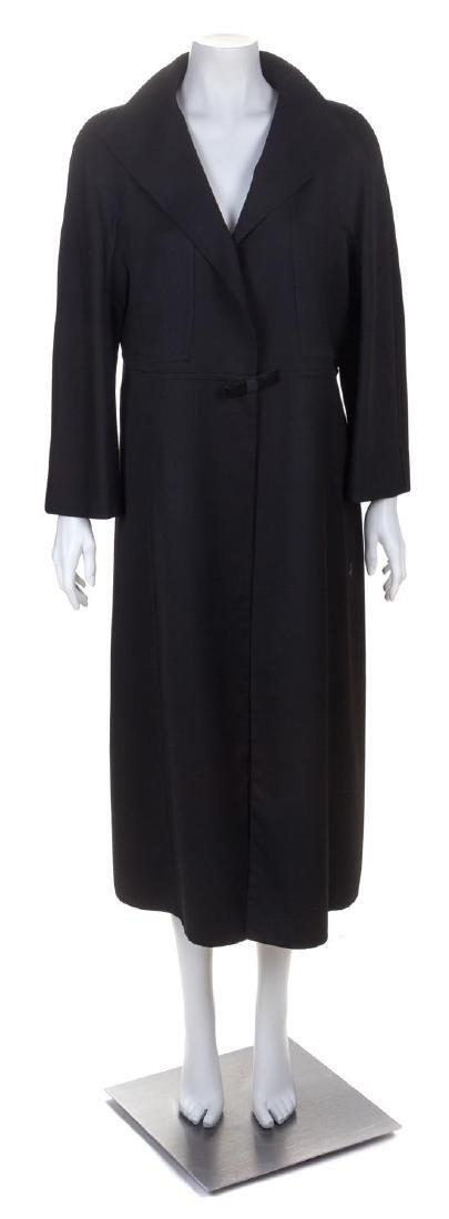 A Gianfranco Ferre Black Wool Coat, Size 48.