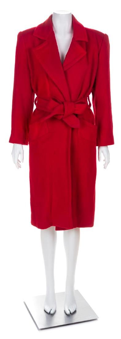 A Givenchy Red Cashmere Coat, No size.