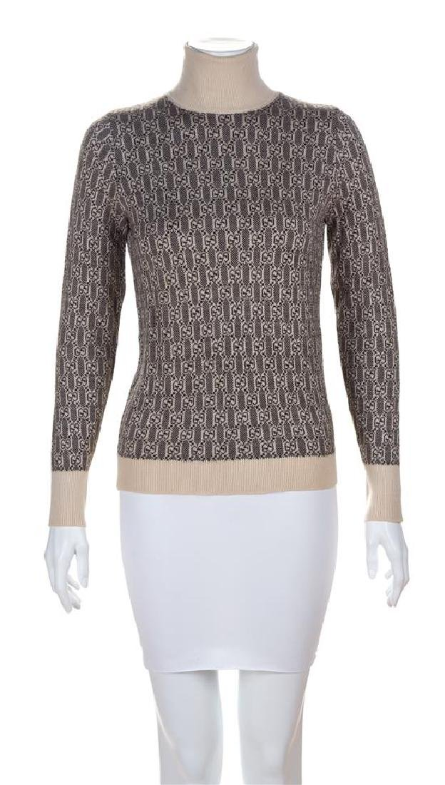 A Gucci Brown and Cream Cashmere Logo Turtleneck, Size