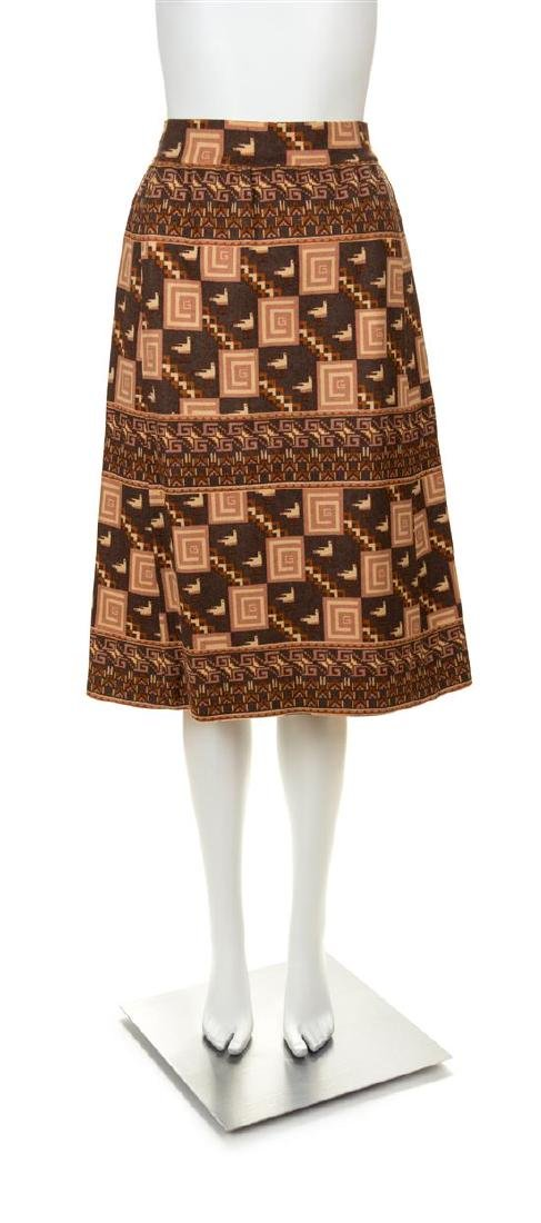 A Gucci Vintage A-Line Wool Pattern Skirt, No size.