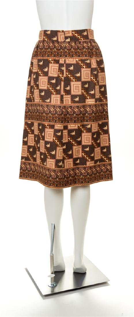 A Gucci Vintage A-Line Wool Pattern Skirt, No size. - 2