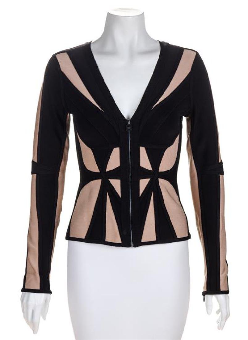 An Herve Leger Black and Tan Body Con Jacket, Size