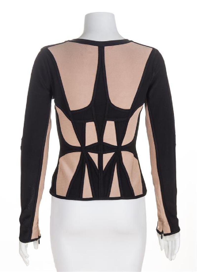 An Herve Leger Black and Tan Body Con Jacket, Size - 2