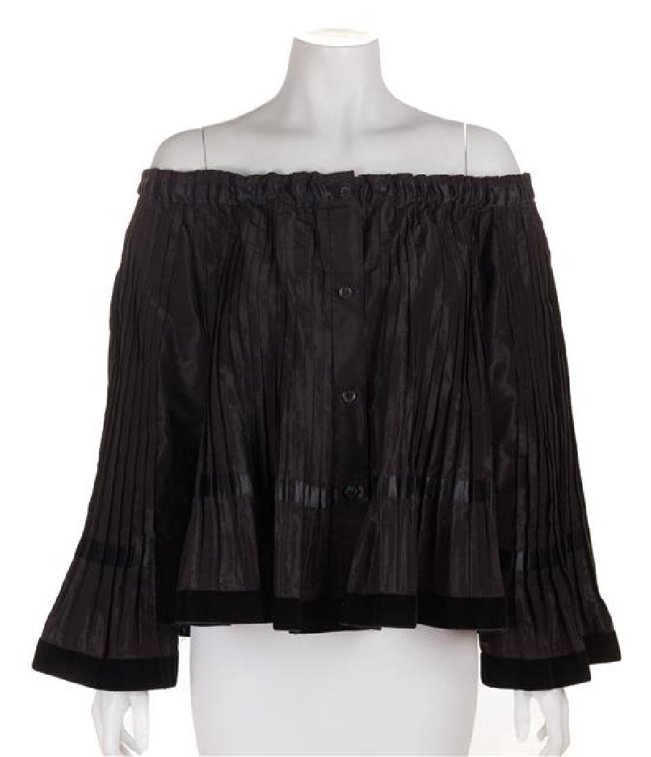 A Kenzo Black Pleated Blouse, Size 38.