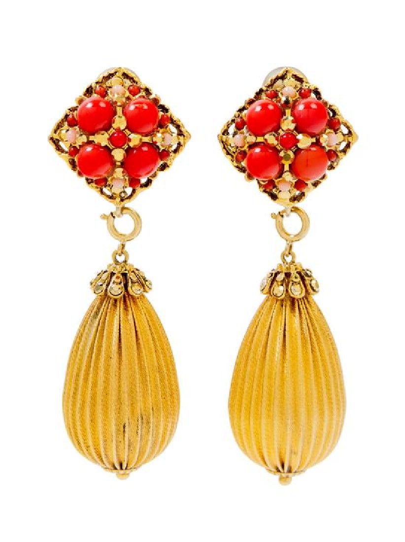 """* A Pair of Barrera Coral Bead Drop Earclips, 1"""" x 3""""."""