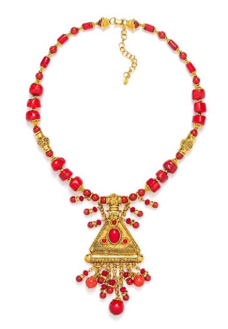 * A Barrera Coral Bead Arabian Inspired Pendant