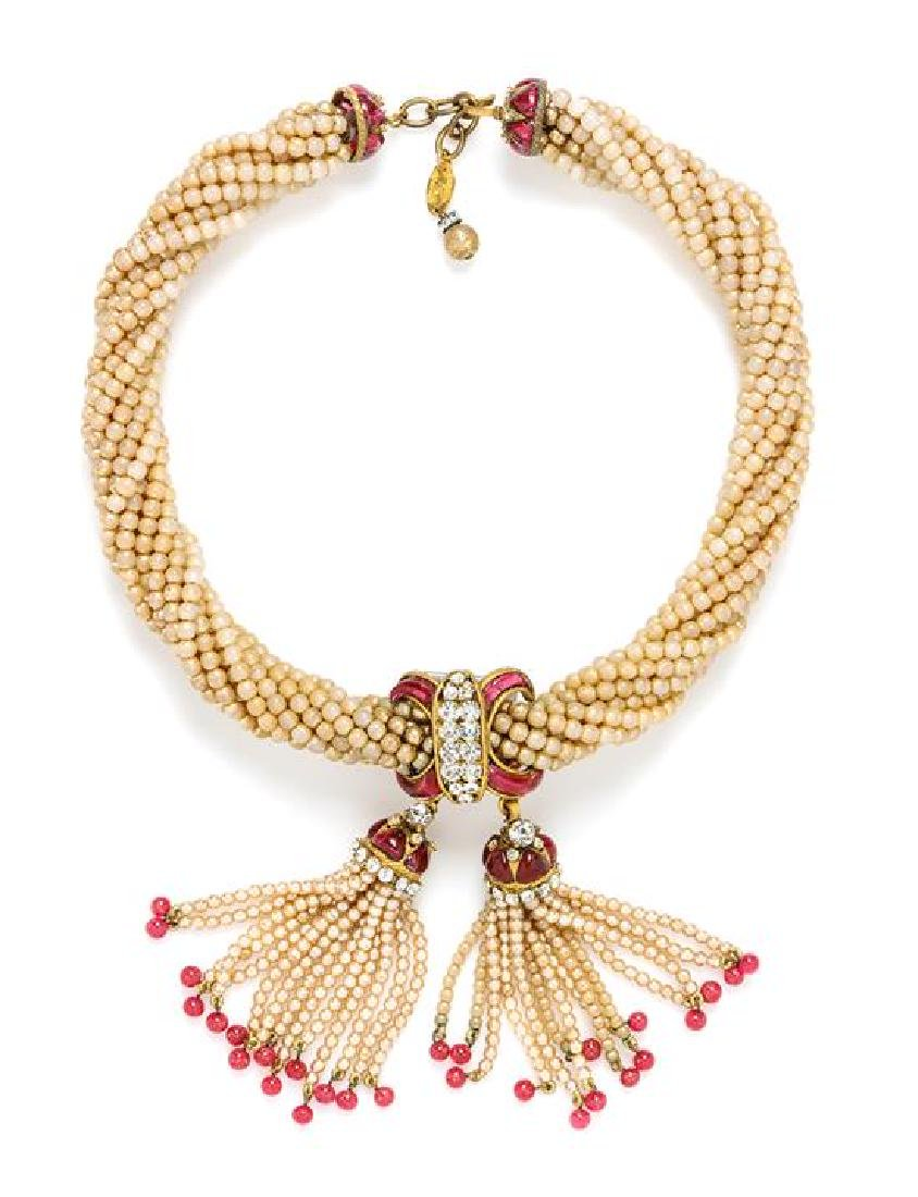"* A Chanel Pearl Torsade Necklace, Length: 16.5""- 17.5"";"
