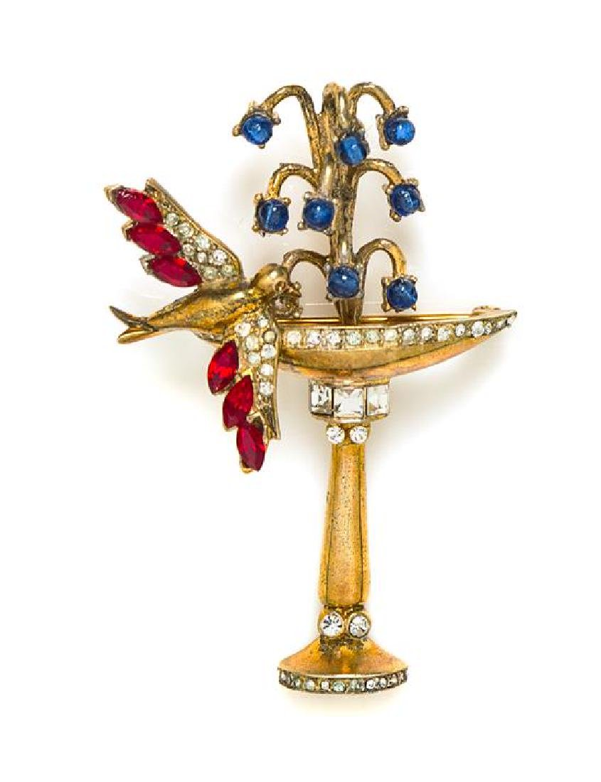 "A Coro Bird Bath Brooch, 2.75"" x 2""."