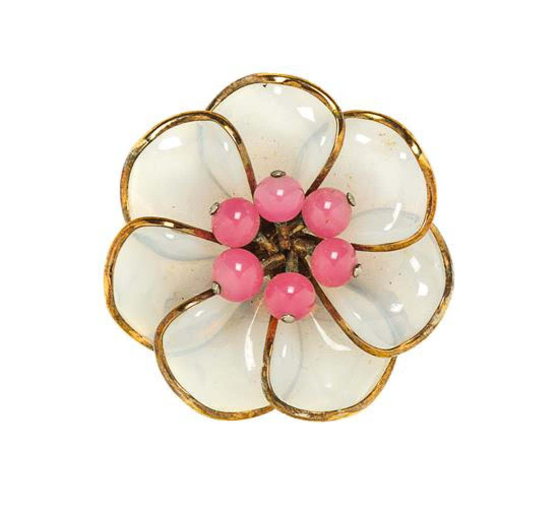 """A Trifari Poured Glass Floral Brooch, 2"""" x 2""""."""