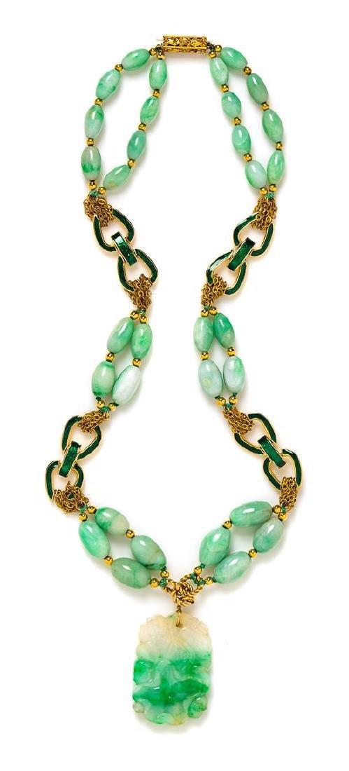 """A Goldtone and Jadeite Pendant Necklace, 25""""; Pendant:"""