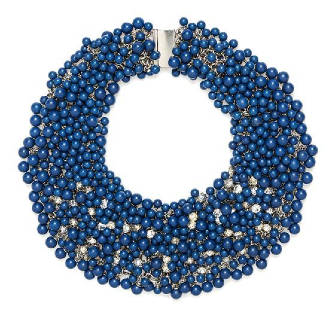 "* A Blue Bead Chainmail Choker, Length: 17.5""; Width:"