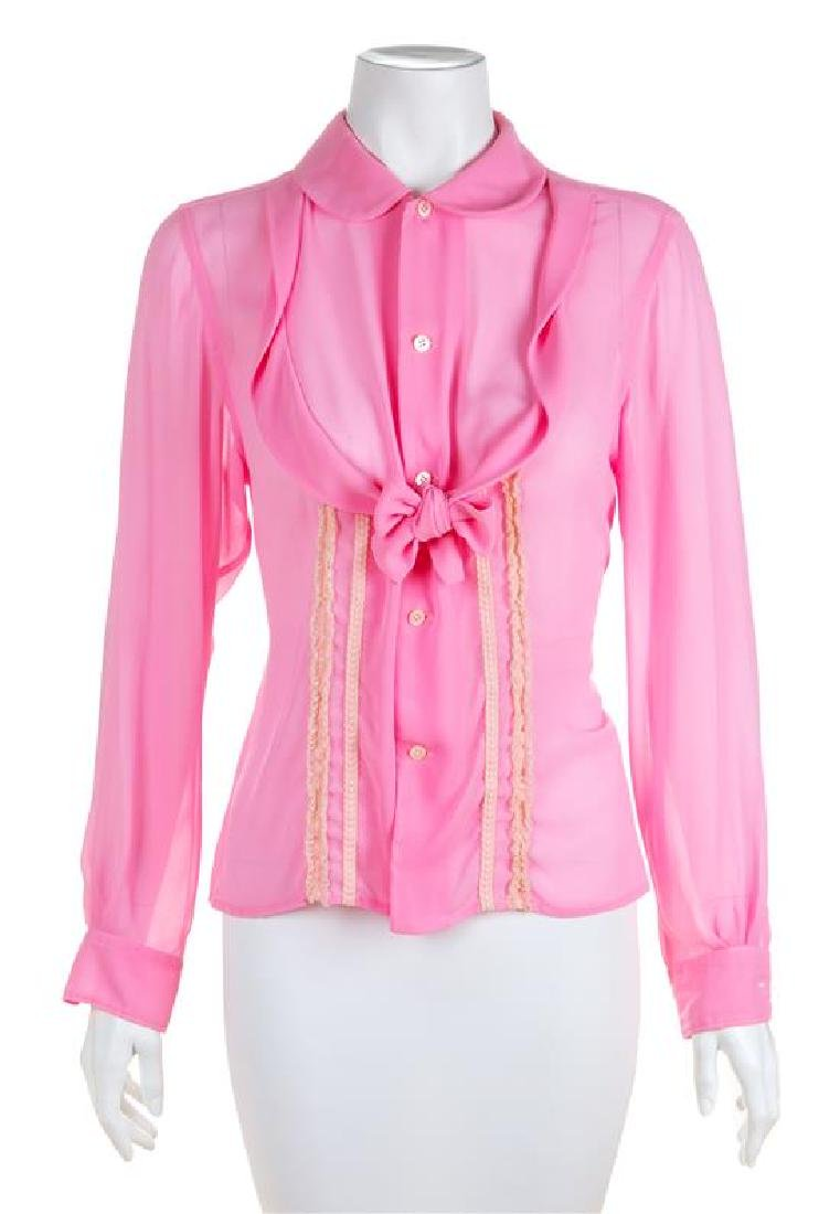 * A Comme des Garcons Pink Silk Blouse, Size medium.