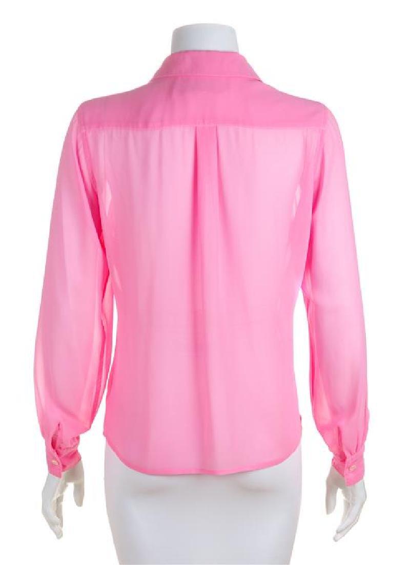 * A Comme des Garcons Pink Silk Blouse, Size medium. - 2