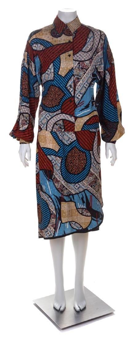 * A Koos Silk Multicolor Silk Geometric Skirt Ensemble,