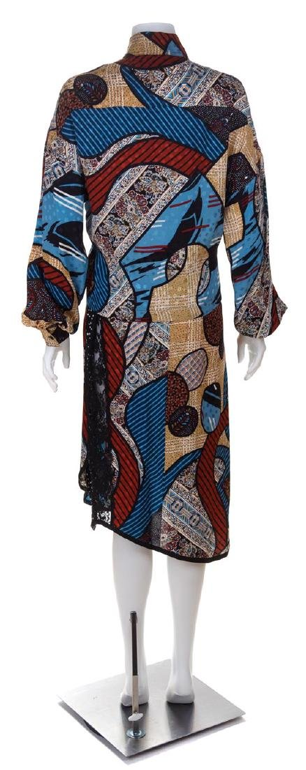 * A Koos Silk Multicolor Silk Geometric Skirt Ensemble, - 2